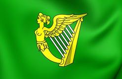 Grön harpaflagga av Irland royaltyfri illustrationer