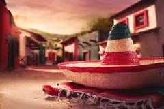 grön hatt isolerad mexikansk sombrero Royaltyfri Bild