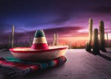 grön hatt isolerad mexikansk sombrero Royaltyfri Fotografi