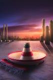 grön hatt isolerad mexikansk sombrero Royaltyfri Foto
