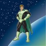 Grön hjälteställning Arkivbild