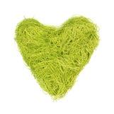 Grön hjärta som göras av rader på en vit bakgrund royaltyfria bilder