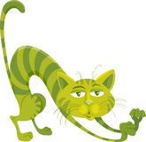 Grön illustration för kattteckentecknad film Arkivfoton