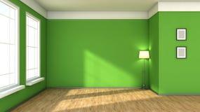 Grön inre med det stora fönstret Arkivfoton