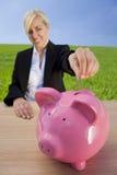 grön investering som gör kvinnan Arkivbilder