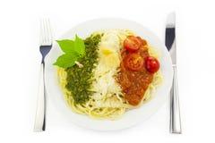 grön italiensk pastapesto för flagga Fotografering för Bildbyråer