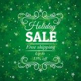 Grön jul bakgrund och etikett med försäljning av Royaltyfri Fotografi