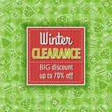 Grön jul bakgrund och försäljningsetikett Arkivbilder