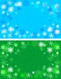 Grön jul och blåa bakgrunder Arkivbilder