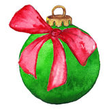 Grön julboll med pilbågen Royaltyfri Foto