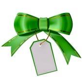 Grön julbow med etiketten royaltyfri illustrationer