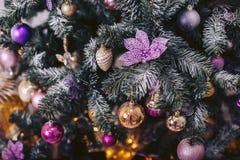 Grön julgran med färgrika leksaker Royaltyfria Foton