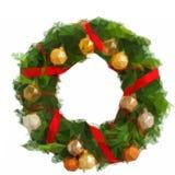 Grön julkrans med garneringar stock illustrationer