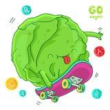 Grön kål går på en skateboard Arkivfoto