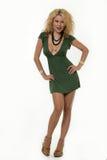 grön klänning little Arkivbild