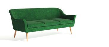 Grön klassisk modern stilfull soffa med träben som isoleras på vit bakgrund Möblemang inre objekt, stilfull soffa enkelt arkivbild