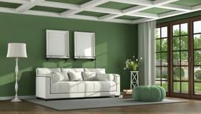 Grön klassisk vardagsrum Fotografering för Bildbyråer