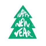 Grön kontur av trädet med lyckligt nytt år för bokstävertext på vit bakgrund vektor illustrationer