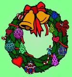 Grön krans med klockor och julleksaker stock illustrationer