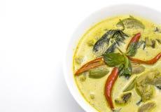 Grön kryddig currysoppa med höna Royaltyfria Bilder