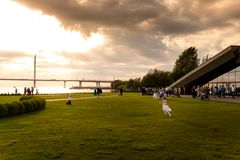 Grön kust av havet med bron i solnedgång royaltyfri foto