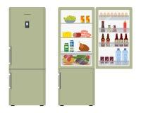 Grön kyl med öppna dörrar, ett fullt av mat vektor illustrationer