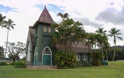 Grön kyrka av Kaui också som är bekant som den Waioli Huiia kyrkan royaltyfri fotografi