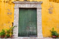 Grön kyrklig dörr arkivfoto