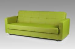 Grön lädersoffa Arkivfoto