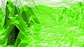 Grön låg poly bakgrund som vibrerar Abstrakt låg poly yttersida som digitalt landskap i stilfull låg poly design arkivfilmer