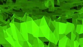 Grön låg poly bakgrund som vibrerar Abstrakt låg poly yttersida som landskap eller den kemiska strukturen i stilfullt lågt poly lager videofilmer