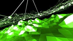 Grön låg poly bakgrund som vibrerar Abstrakt låg poly yttersida som cybernetic fält i stilfull låg poly design polygonal lager videofilmer