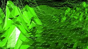 Grön låg poly bakgrund som vibrerar Abstrakt låg poly yttersida som den digitala bakgrunden i stilfull låg poly design polygonal stock video