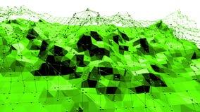Grön låg poly bakgrund som vibrerar Abstrakt låg poly yttersida som futuristisk miljö i stilfull låg poly design lager videofilmer