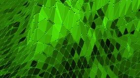 Grön låg poly bakgrund som vibrerar Abstrakt låg poly yttersida som landskap eller den geometriska strukturen i stilfullt lågt po lager videofilmer