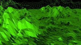 Grön låg poly bakgrund som vibrerar Abstrakt låg poly yttersida som tecknad filmbakgrund i stilfull låg poly design stock video
