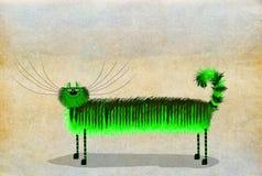 Grön lång med polisonger katt Arkivfoton