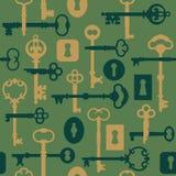 grön låsmodellskeletonkey stock illustrationer