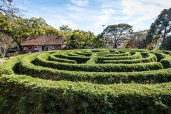 Grön labyrinthäcklabyrint & x28; Labirinto Verde& x29; på den huvudsakliga fyrkanten - Nova Petropolis, Rio Grande do Sul, Brasil Arkivfoto