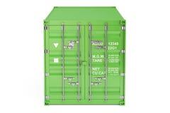 Grön lastbehållare, främre sikt framförande 3d Royaltyfria Foton