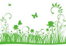 grön lawn för fjäril vektor illustrationer