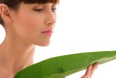 grön leafkvinna Arkivbilder