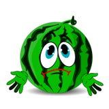 Grön ledsen vattenmelon, tecknad film på vit bakgrund Fotografering för Bildbyråer