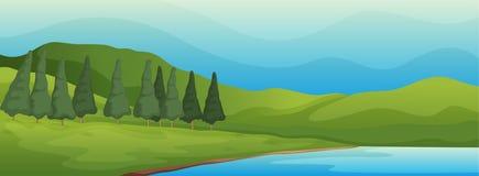Grön liggande och lake stock illustrationer