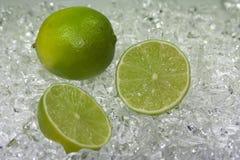 Grön limefrukt på is arkivbild