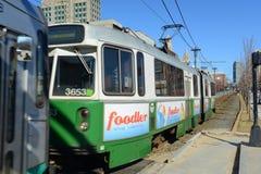 Grön linje för Boston tunnelbana, Massachusetts, USA Arkivfoto