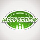 Grön lycklig födelsedagklistermärke Arkivfoton