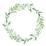 Grön målat blad Garland Floral Wreath för vattenfärgblomma hand arkivfoton