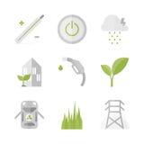 Grön makt och plan symbolsuppsättning för energi Arkivbild