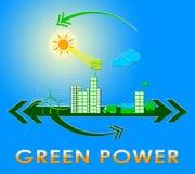 Grön makt som visar tolkningen för Eco energi 3d Arkivbilder